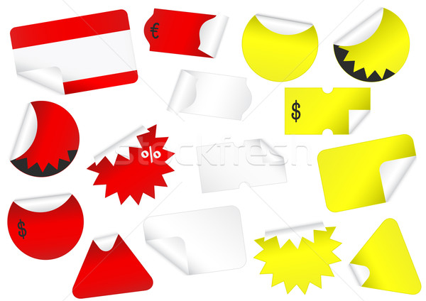 Vector set of blank retail tags with peeled edges. Stock photo © Bytedust