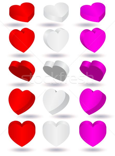 Vector illustration of three-dimensional heart shape.  Stock photo © Bytedust