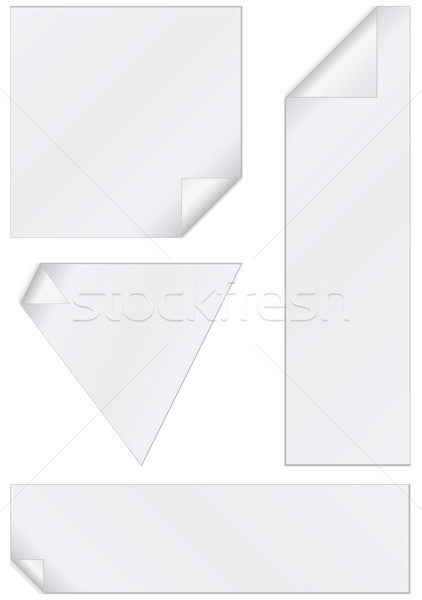 Vector illustration set of unprinted stickers with peeled corners. Stock photo © Bytedust