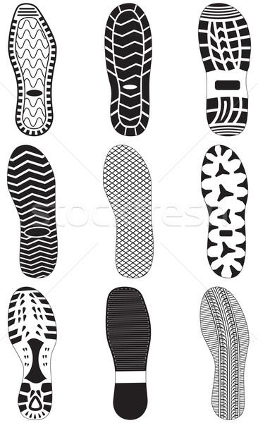 Szett lábnyomok összes vektor tárgyak izolált Stock fotó © Bytedust