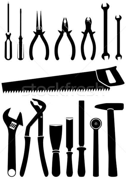 Vector illustration set of 15 different tools. Stock photo © Bytedust