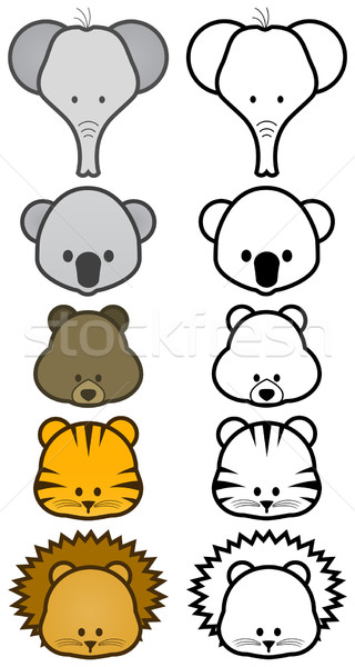Stock photo: Vector illustration set of cartoon wild or zoo animals.