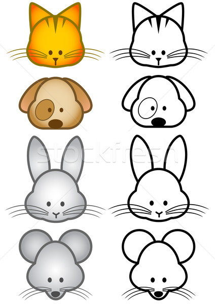 Stock photo: Vector illustration set of cartoon pet animals.