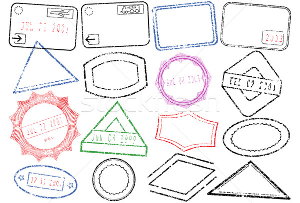 Passport or post stamp vector illustration set. Stock photo © Bytedust