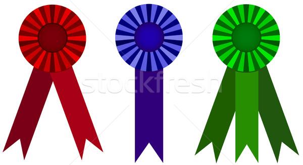 Díj szalag szett szalagok különböző színek Stock fotó © Bytedust