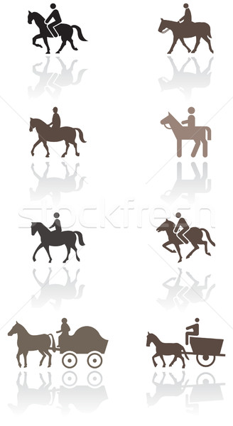 Horse or pony symbol vector illustration set. Stock photo © Bytedust