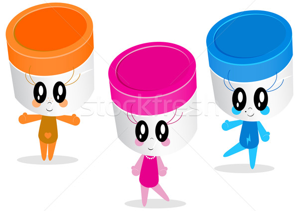 Vector character illustrations of plastic jars or containers. Stock photo © Bytedust