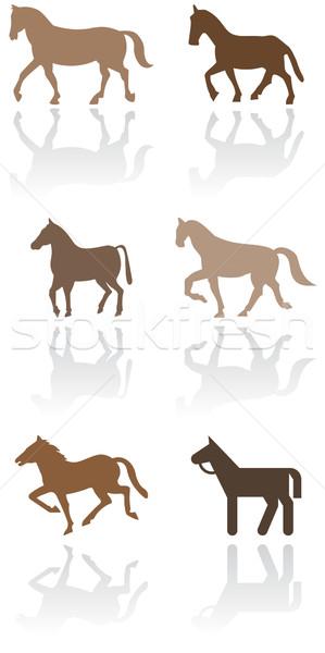 Horse or pony symbol vector illustration set. Stock photo © Bytedust