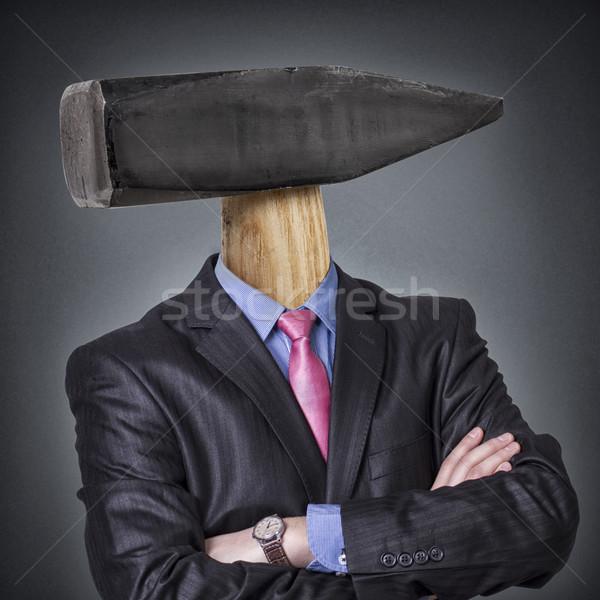 Martelo cabeça homem de negócios negócio mão Foto stock © c12