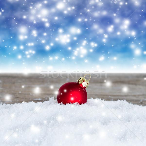 Natal bola vermelho neve azul Foto stock © c12