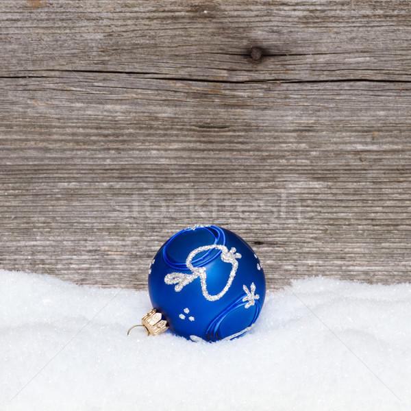 Azul natal bola neve madeira Foto stock © c12