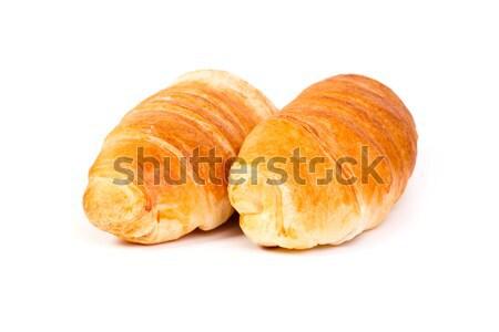 Fresco croissant isolado branco pão presunto Foto stock © c12