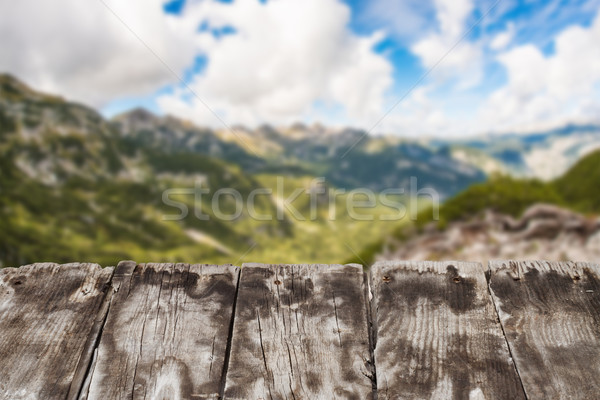 wooden board top and mountain Stock photo © c12