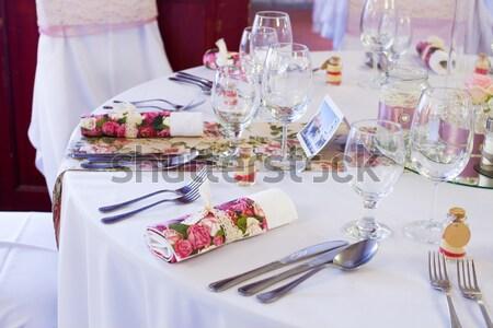 ślub zestaw inny wzrosła restauracji Zdjęcia stock © c12