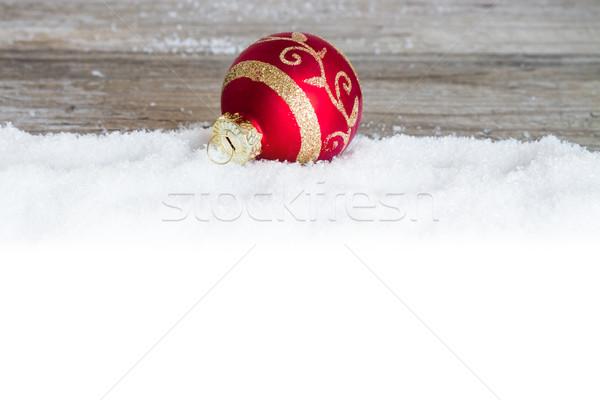Vermelho natal bola neve madeira Foto stock © c12