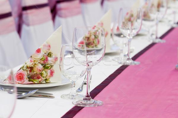 Сток-фото: свадьба · набор · Изысканные · ужины · другой · закрывается · ресторан