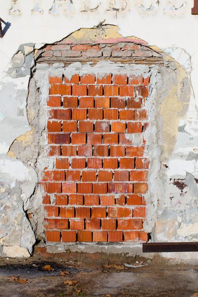Deur oude muur Rood huis textuur Stockfoto © c12
