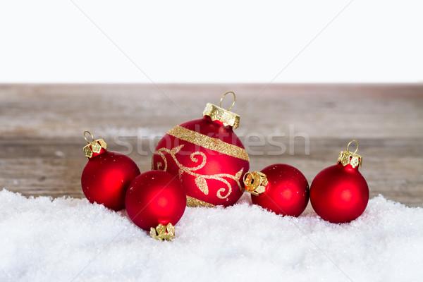 Vermelho natal neve madeira Foto stock © c12