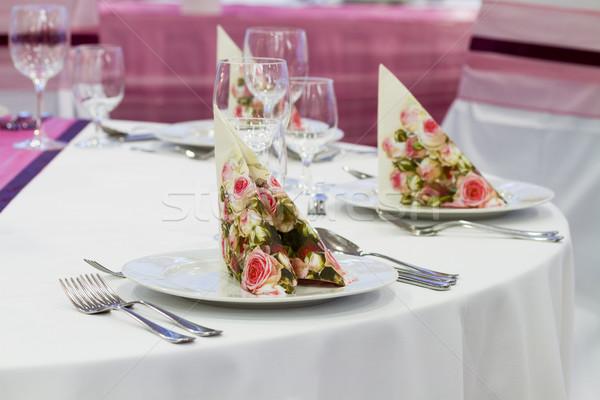 Esküvő szett fine dining másik rózsa étterem Stock fotó © c12