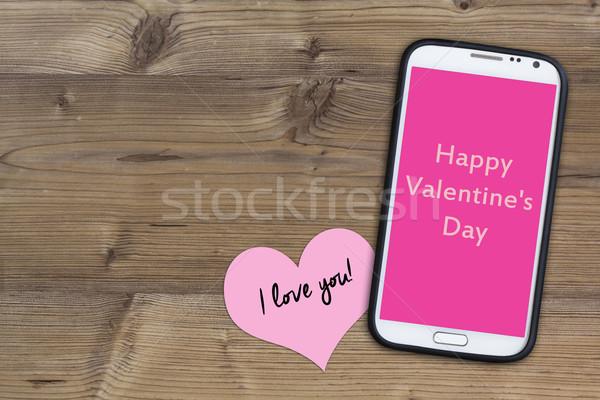 Telefone madeira feliz dia dos namorados Foto stock © c12