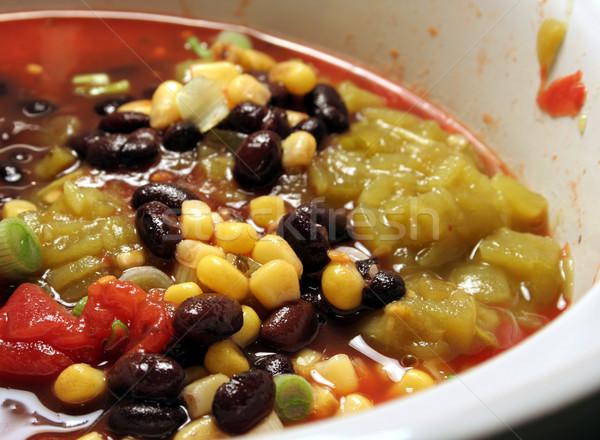 Negro frijol mexicano sopa primer plano picante Foto stock © ca2hill