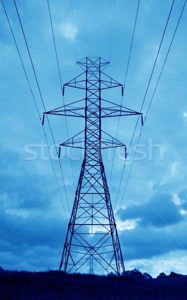 синий власти силуэта towers Blue Sky Сток-фото © ca2hill