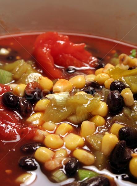 Lento chile sopa primer plano picante negro Foto stock © ca2hill