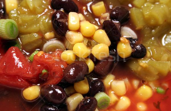 Picante negro sopa de frijol primer plano maíz hortalizas Foto stock © ca2hill