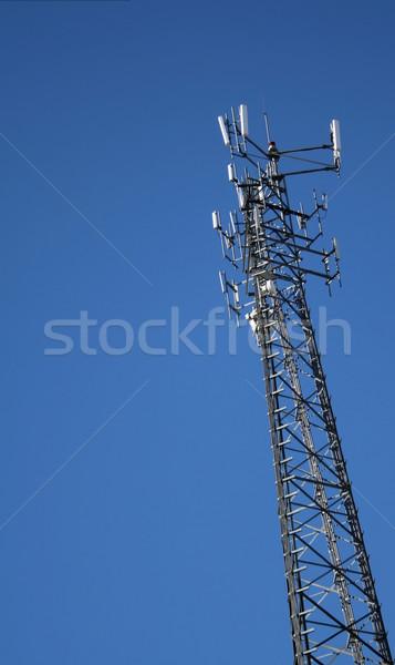 ストックフォト: 先頭 · 携帯電話 · 塔 · セット · 青空