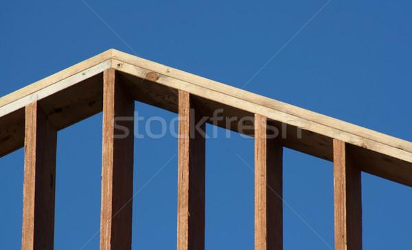 Keret címer fakeret új ház szett kék ég Stock fotó © ca2hill