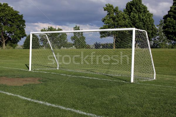 Stockfoto: Voetbal · doel · net · vacant · toonhoogte