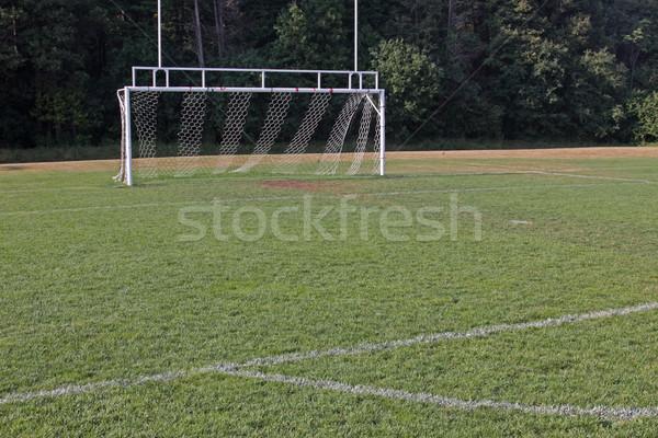 Voetbal net doel vacant toonhoogte Stockfoto © ca2hill