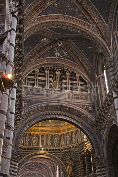 Kathedraal plafond gestreept interieur Toscane Italië Stockfoto © ca2hill