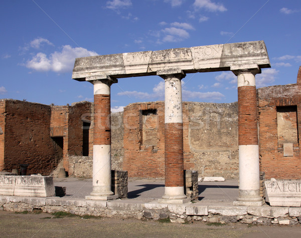 Forum kolommen Romeinse stad begraven uitbarsting Stockfoto © ca2hill