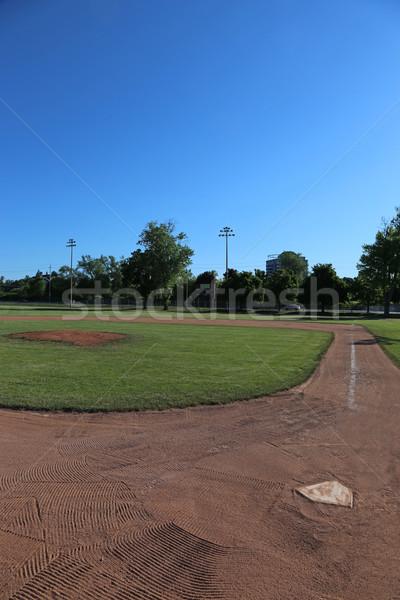 Baseball pálya kék ég lövés szabad fű sport Stock fotó © ca2hill