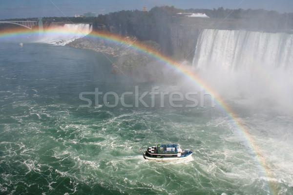 Boot regenboog meid mist Niagara Falls hoofd Stockfoto © ca2hill