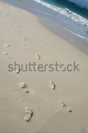 Pair of Footprint Trails on the Beach