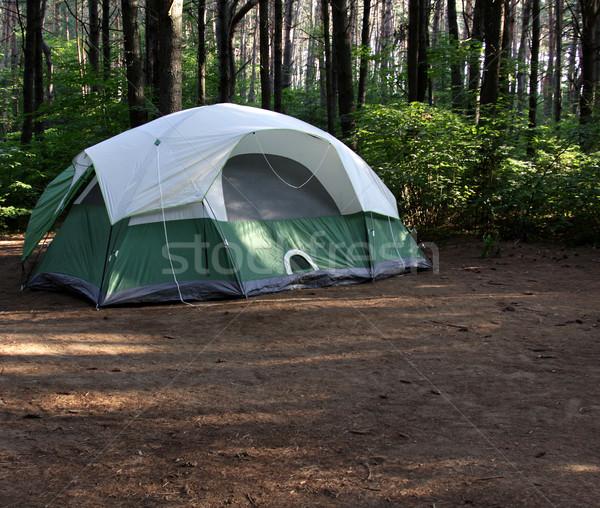 Groene tent bos vergadering natuur Stockfoto © ca2hill