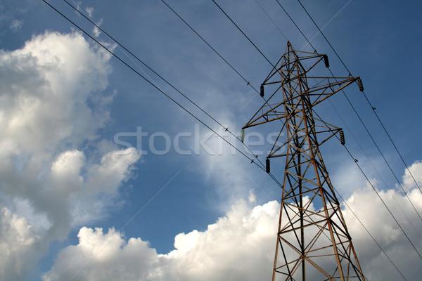 Távvezeték nap kék ég felhők ipar energia Stock fotó © ca2hill