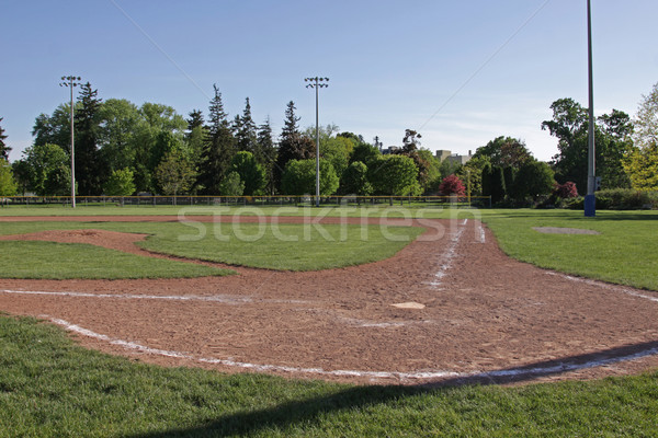 Baseball pálya alkonyat lövés szabad fű sport Stock fotó © ca2hill