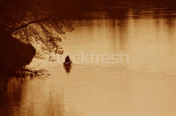 Grand River Canoer Silhouette Stock photo © ca2hill