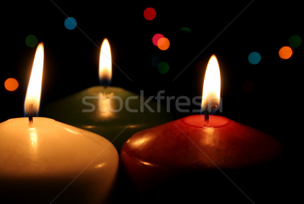 Stock photo: Three Festive Candles