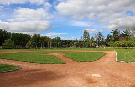 Egész baseball pálya lövés szabad fű sport Stock fotó © ca2hill