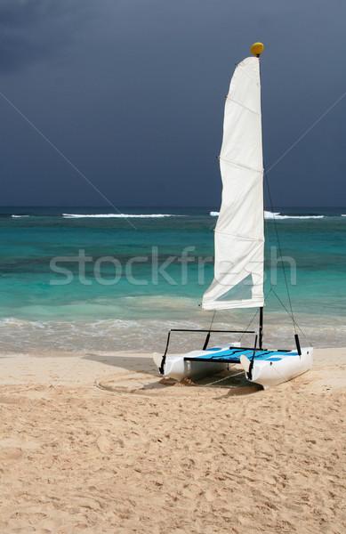 Pequeño tropicales catamarán sesión playa mar Foto stock © ca2hill