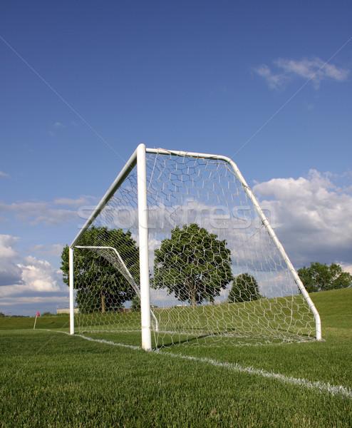 Verticaal voetbal net vacant toonhoogte Stockfoto © ca2hill