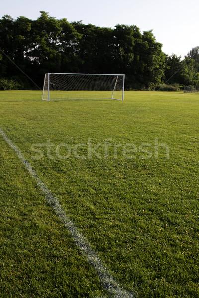 Open voetbalveld voetbal net shot heldere Stockfoto © ca2hill