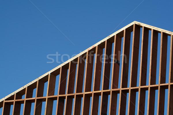 Bouw frame houten frame groot huis Stockfoto © ca2hill