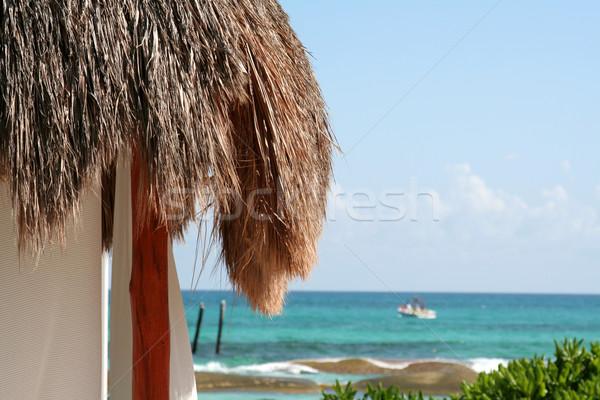 Kilátás tenger pálma kunyhó gyönyörű égbolt Stock fotó © ca2hill