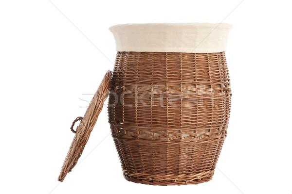 корзина для белья изолированный белый текстуры корзины ткань Сток-фото © caimacanul