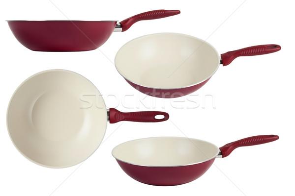 Koekenpan wok Rood schaal geïsoleerd witte Stockfoto © caimacanul